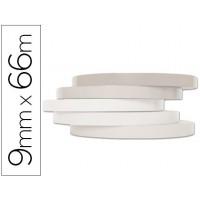 Cinta adhesiva q-connect 66m x9mm blanca para cerrar bolsas