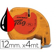Cinta dymo 12mmx4mt -negro/rojo cosmico para maquina letratag