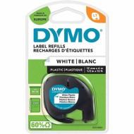 Cinta dymo 12 mm x 4 m Negro/Blanco perla para maquina letratag 91201