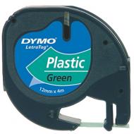 Cinta dymo 12mmx4mt -negro/verde acido para maquina letratag