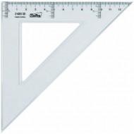 Escuadra 25 cm plastico cristal