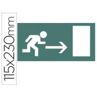 Etiqueta adhesiva apli de señalizacion indicador direccion a la derecha de puertas de salida 115x230 mm