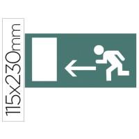 Etiqueta adhesiva apli de señalizacion indicador direccion a la izquierda de puertas de salida 115x230 mm