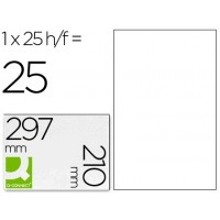 Etiqueta adhesiva q-connect kf00232 -tamaño din a4 -para laser -transparente -caja con 25 hojas din-a4