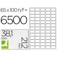 Etiqueta adhesiva q-connect kf00573 -tamaño 38,1x21,2 mm -fotocopiadora -laser -ink-jet-caja con 100 hojas din a4