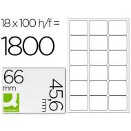 Etiqueta adhesiva q-connect kf01583 tamaño 66x45,6 mm fotocopiadora laser ink-jet caja con 100 hojas din a4