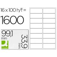 Etiqueta adhesiva q-connect kf01584 tamaño 99,1x33,9 mm fotocopiadora laser ink-jet caja con 100 hojas din a4