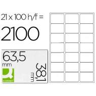 Etiqueta adhesiva q-connect kf01587 tamaño 63,5x38,1 mm fotocopiadora laser ink-jet caja con 100 hojas din a4