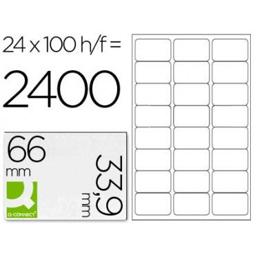 Etiqueta adhesiva q-connect kf10639 tamaño 66x33,9 mm fotocopiadora laser ink-jet caja con 100 hojas din a4