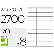 Etiqueta adhesiva q-connect kf10642 tamaño 70x30 mm fotocopiadora laser ink-jet caja con 100 hojas din a4