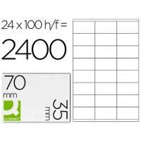 Etiqueta adhesiva q-connect kf10645 -tamaño 70x35 mm fotocopiadora laser ink-jet caja con 100 hojas din a4