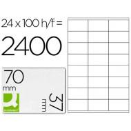 Etiqueta adhesiva q-connect kf10647 tamaño 70x37 mm fotocopiadora laser ink-jet caja con 100 hojas din a4