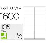 Etiqueta adhesiva q-connect kf10654 tamaño 105x37 mm fotocopiadora laser ink-jet caja con 100 hojas din a4