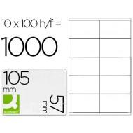 Etiqueta adhesiva q-connect kf10658 tamaño 105x57 mm fotocopiadora laser ink-jet caja con 100 hojas din a4