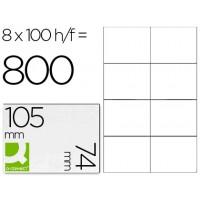 Etiqueta adhesiva q-connect kf10659 tamaño 105x74 mm fotocopiadora laser ink-jet caja con 100 hojas din a4