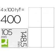 Etiqueta adhesiva q-connect kf10660 tamaño 105x148,5 mm fotocopiadora laser ink-jet caja con 100 hojas din a4