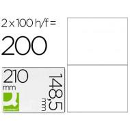 Etiqueta adhesiva q-connect kf10662 tamaño 210x148,5 mm fotocopiadora laser ink-jet caja con 100 hojas din a4