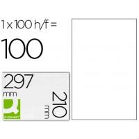 Etiqueta adhesiva q-connect kf10664 tamaño 210x297 mm fotocopiadora laser ink-jet caja con 100 hojas din a4