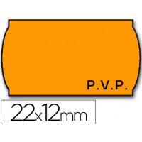 Etiquetas meto onduladas 22 x 12 mm pvp removible fn. -fluor naranja -rollo 1500 etiquetas