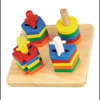 Figuras apilables de madera 4 roscas