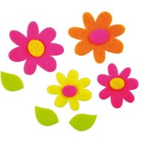 Figuras fieltro flores 30 unds