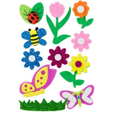 Figuras Goma EVA Flores e insectos Adhesiva 3D con purpurina