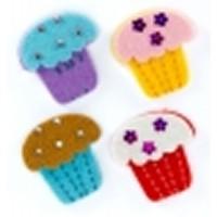 Figuras fieltro 3D modelo cupcakes