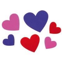 Figuras fieltro corazones 30unds