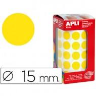 Gomets autoadhesivos circulares 15 mm amarillo en rollo con 2832 unidades.
