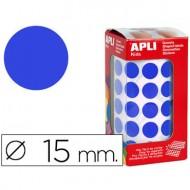 Gomets autoadhesivos circulares 15 mm azul en rollo con 2832 unidades.
