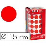 Gomets autoadhesivos circulares 15 mm rojo en rollo con 2832 unidades.