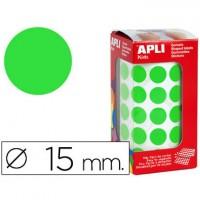 Gomets autoadhesivos circulares 15 mm verde en rollo con 2832 unidades.