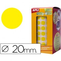 Gomets autoadhesivos circulares 20 mm amarillo en rollo.