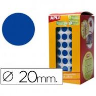 Gomets autoadhesivos circulares 20 mm azul en rollo.