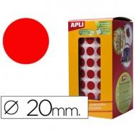 Gomets autoadhesivos circulares 20mm rojo en rollo.