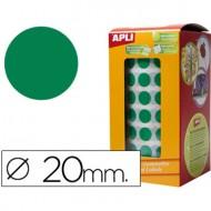 Gomets autoadhesivos circulares 20mm verde en rollo.