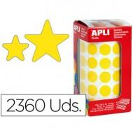 Gomets autoadhesivos estrellas surtidas amarilla en rollo con 2360 unidades.