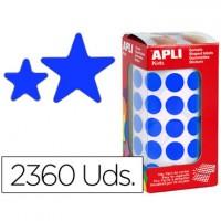 Gomets autoadhesivos estrellas surtidas azul en rollo con 2360 unidades.