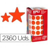 Gomets autoadhesivos estrellas surtidas rojo en rollo con 2360 unidades.