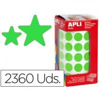 Gomets autoadhesivos estrellas surtidas verde en rollo con 2360 unidades.