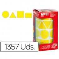 Gomets autoadhesivos figuras geometricas tamaño xl amarillo en rollo con 1357 unidades.