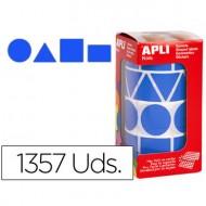 Gomets autoadhesivos figuras geometricas tamaño xl azul en rollo con 1357 unidades.