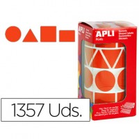 Gomets autoadhesivos figuras geometricas tamaño xl rojo en rollo con 1357 unidades.