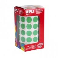 Gomets circulares 15 mm color Verde Apli ref 4858