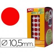 Gomets autoadhesivos circulares 10,5 mm rojo en rollo.