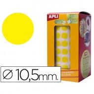 Gomets autoadhesivos circulares 10,5mm amarillo en rollo.
