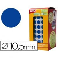 Gomets autoadhesivos circulares 10,5mm azul en rollo.