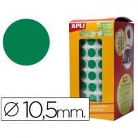 Gomets autoadhesivos circulares 10,5mm verde en rollo.