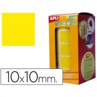 Gomets autoadhesivos cuadradas 10x10 mm amarillo en rollo.
