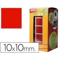 Gomets autoadhesivos cuadradas 10x10 mm rojo en rollo.